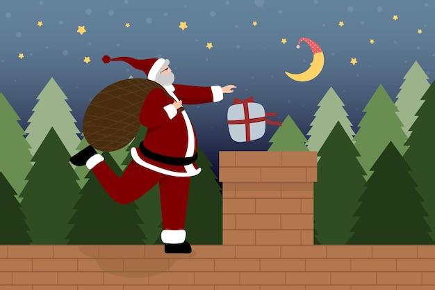 Cartões de natal tmplate com personagem de desenho animado de papai noel