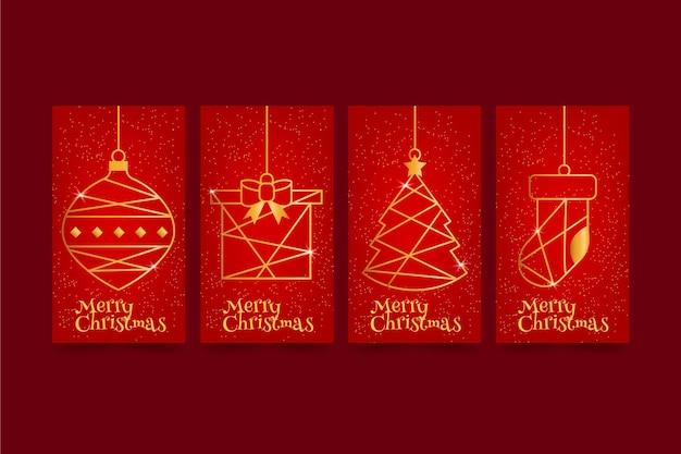 Cartões de natal vermelhos e dourados