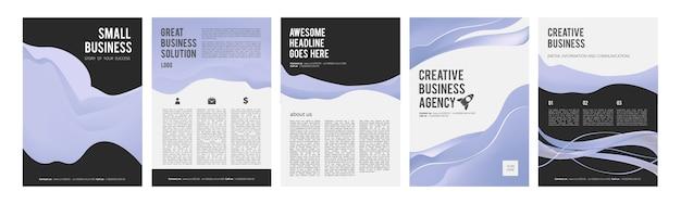 Cartões de negócios. folhetos de negócios modernos para anúncios, folheto de produto com lugar para coleção de desenho de vetor de texto. modelo de banners de apresentação. folheto comercial, pôster de relatório, ilustração do projeto