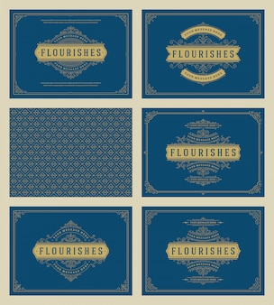 Cartões de ornamento vintage defina vetor modelos