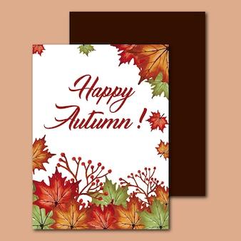 Cartões de outono de aguarela com folhas vermelhas, laranja, amarelas e verdes