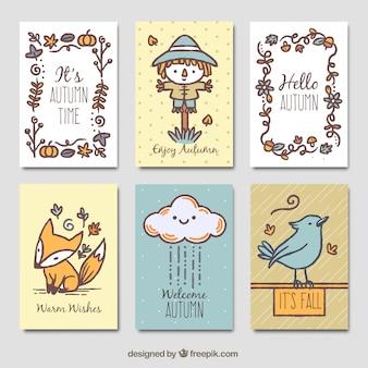 Cartões de outono divertidos com estilo desenhado a mão