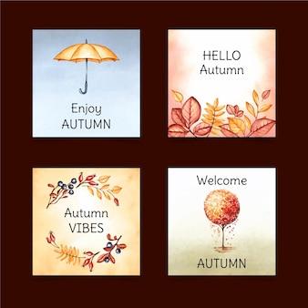 Cartões de outono em aquarela