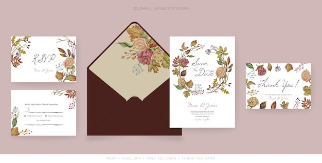 Cartões de pacote de casamento outono