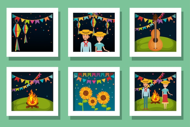 Cartões de pacote de ícones de festa junina