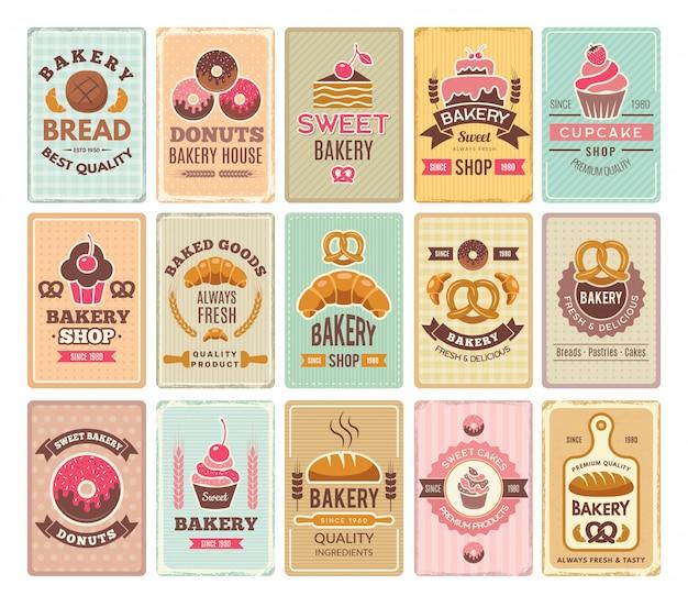Cartões de padaria vintage. rótulos de café e bolos deliciosos doces pastelaria