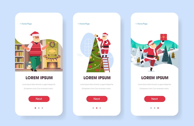 Cartões de papai noel páginas da web feliz natal feriado celebração aplicativo para celular configuração de tela