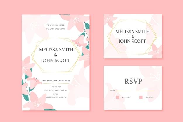 Cartões de papelaria de casamento com flores cor de rosa
