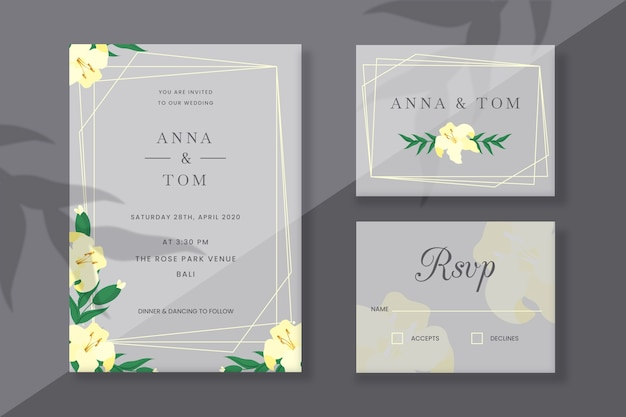 Cartões de papelaria de casamento com flores da primavera