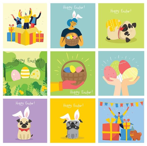 Cartões de páscoa de vetor com animais segurando os ovos e texto desenhado à mão