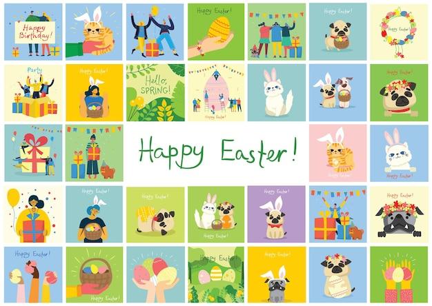 Cartões de páscoa de vetor com gatos, pessoas, cães e flores da primavera. feliz páscoa no estilo plano