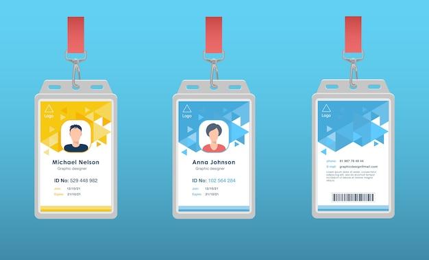 Cartões de passe de identificação para a equipe do evento