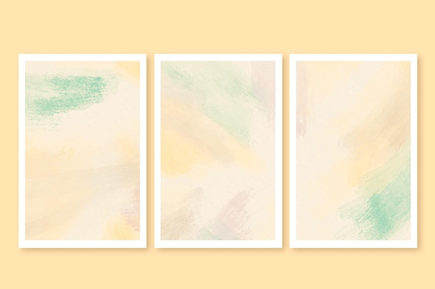 Cartões de pinceladas em aquarela
