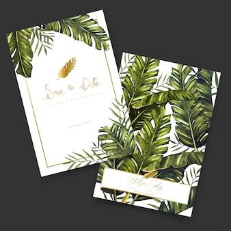 Cartões de pintura aquarela tropical.