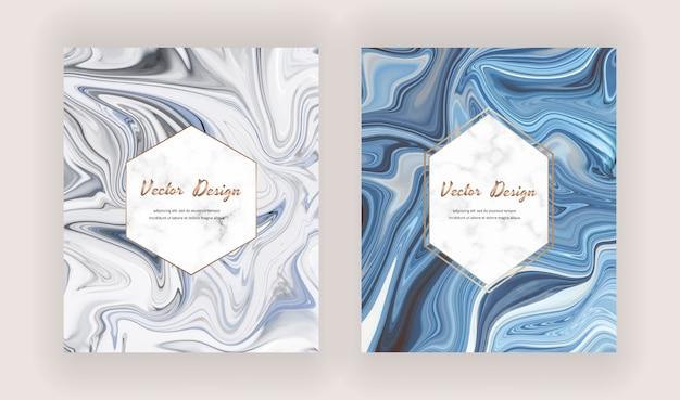 Cartões de pintura com tinta líquida cinza e azul com molduras de mármore geométricas.