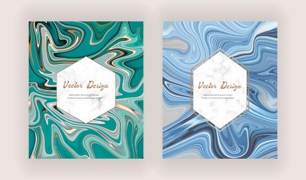 Cartões de pintura com tinta líquida verde e azul com molduras de mármore geométricas.