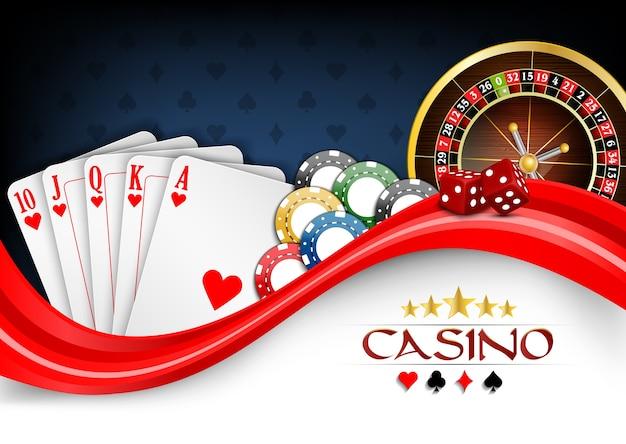 Cartões de poker branco vermelho de fundo
