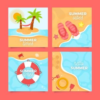Cartões de praia verão design plano
