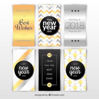 Cartões de prata e ouro de ano novo de 2018