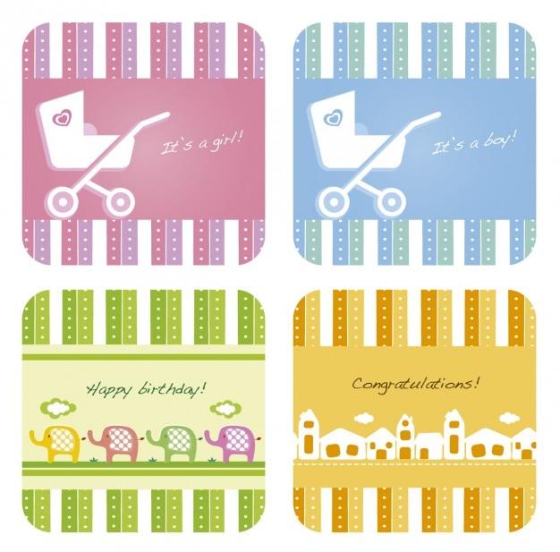 Cartões de presente coleção de chá de bebê