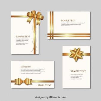 Cartões de presente com fitas douradas