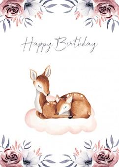 Cartões de presente de bebê fofo feliz aniversário
