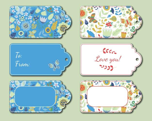 Cartões de presente de época natalícia para presente de aniversário, flores. coleção floral
