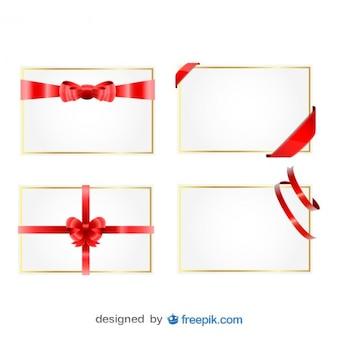 Cartões de presente fita natal