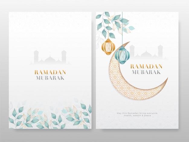 Cartões de ramadan mubarak com lua crescente, lanternas de suspensão e folhas no fundo da silhueta da mesquita.