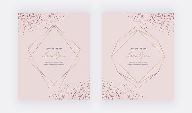 Cartões-de-rosa com quadros de linhas poligonais e confetes ouro rosa.