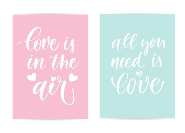 Cartões de rotulação do amor