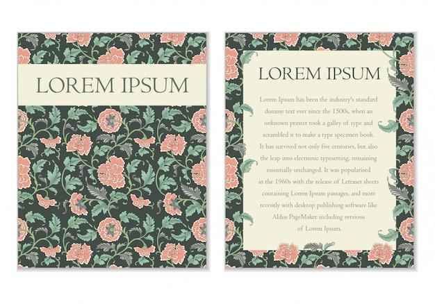 Cartões de saudação em estilo chinês com flores cor de rosa