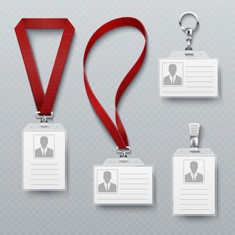 Cartões de segurança id e crachá de identificação com conjunto de vetores de cordão. modelo de cartão de identificação para identificação, ilustração de crachá de plástico