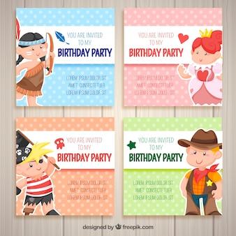 Cartões de seis aniversários com animais