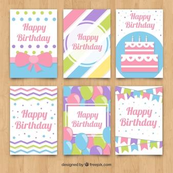 Cartões de seis aniversários com tons pastel