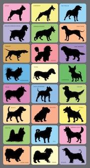 Cartões de silhueta do cão