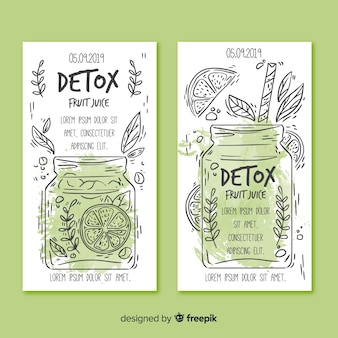 Cartões de suco de frutas de desintoxicação em aquarela