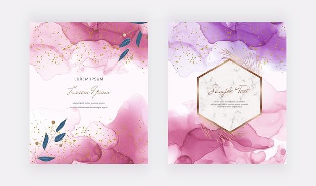 Cartões de tinta álcool rosa com moldura de mármore geométrica