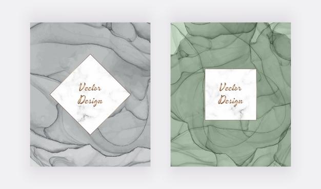 Cartões de tinta cinza e verde álcool com moldura de mármore geométrica. design moderno abstrato aquarela.