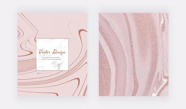 Cartões de tinta líquida ouro rosa