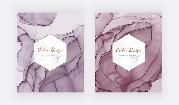 Cartões de tinta rosa e vermelho álcool com moldura de mármore geométrica. design moderno abstrato aquarela.