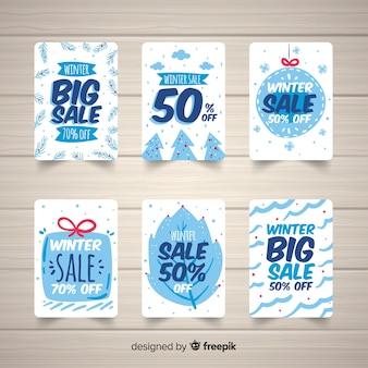 Cartões de tons frios de venda de inverno