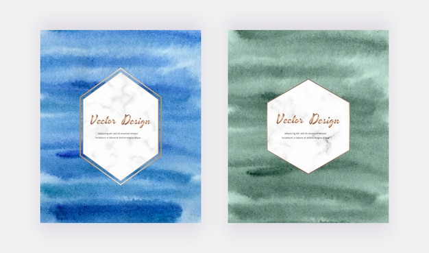 Cartões de traçado de pincel aquarela azul e verde com molduras de hexágonos de mármore.