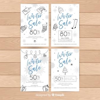Cartões de venda de inverno mão desenhada