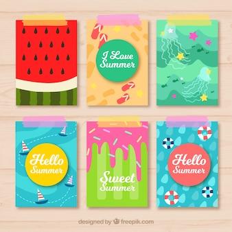 Cartões de verão decorativos em design plano