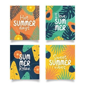 Cartões de verão desenhados