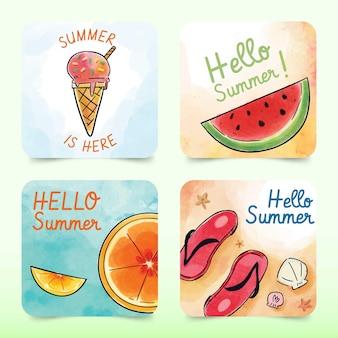 Cartões de verão design aquarela