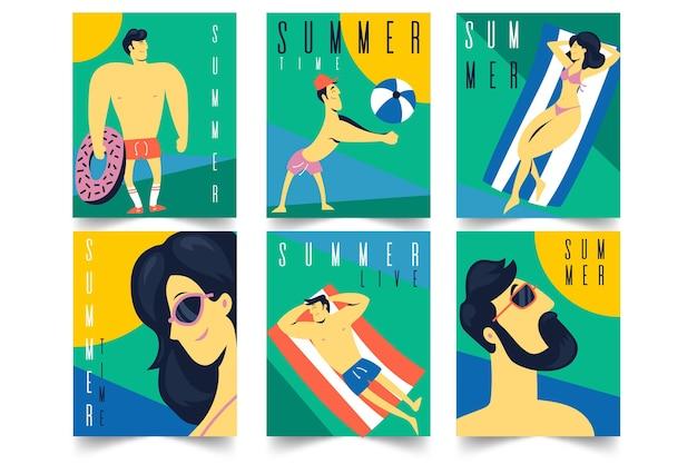 Cartões de verão design plano