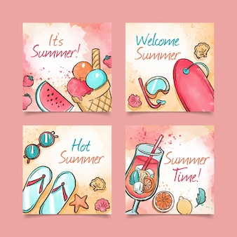 Cartões de verão em aquarela