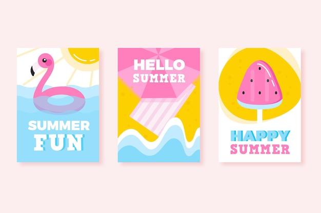 Cartões de verão em design plano
